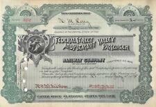 Federal Real & Valle Agradable Pasajero Ferrocarril De Company Certificado 1895
