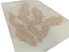 Pink Floral Leaf Glass Beaded Sequin Appliqué  Lace On Tulle