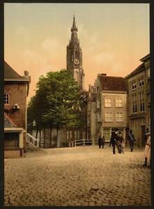 Photo:Fish market and new church, Delft, Holland 1732