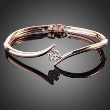 Designer Fashion Rose Gold Plated Sparkle Clear Austrian Crystal Bracelet Bangle