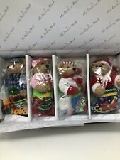 Danbury Mint 2018 Set of 4 Collectible Plush Bear Ornaments Christmas