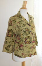 Click Color Me Cotton Sz M Printed Abstract Floral Artsy Linen Blouse Shirt Top