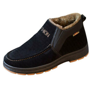 Winter Mens Warm Casual Loafers High Top Thicken Fleece Lined Ankle Snow Booties