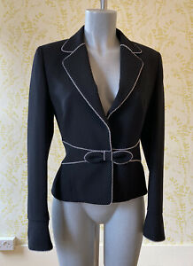 ESCADA designer black 100% pure new wool fitted jacket 36 UK 8-10 bow & piping
