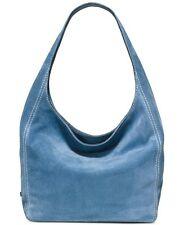 Michael Kors Lena Large Shoulder Tote Handbag Denim Blue Suede New w/ Dust Bags