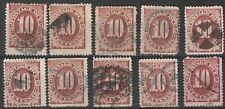 USA Scott #  J 19 Postage Due 10 Cent Red Brown used Lot of 10  (J19-10)