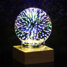 3d LED Magic Fireworks Star Glass Night Light Ball USB Lamp Gift Home Desk Decor