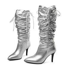 Women's High Heel Slouch Boots Stilettos Leather Pointed Toe Shoes Vogue Runway