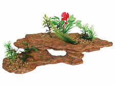 Platform Rock with Plants Aquarium Ornament Vivarium Decoration AQ28127