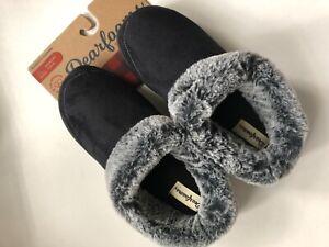 New Dearfoams Micro Suede Women's Clog Super Soft Faux Fur Black - Large 9-10