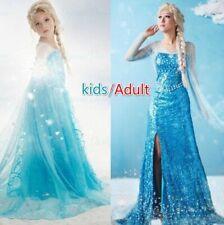 Kids Ice Princess Costume Adult Snow Queen Elsa Evening Dress Girls Party Dress
