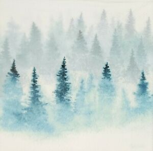 N877# 3 x Single Paper Napkins For Decoupage Winter Forest in Mist, Mistic Firs