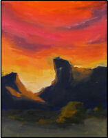 JOEL Love Art Original Oil Painting Western Sunset Sky Landscape Impressionism