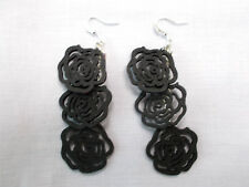 NEW 3 JET BLACK ROSE FLOWERS LONG DANGLE CHANDELIER FASHION GOTH EARRINGS