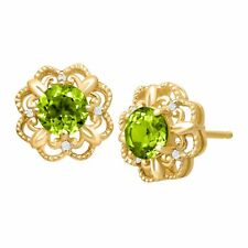 1 1/0 ct Peridot Earrings with Diamonds