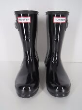 Hunter Rain Boots Black Rubber Short Size US 6 EU 37 UK 4 Original Gloss