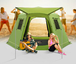 Outdoor 5-8 Person Dual Layers Anti Hard Rain Family 6 Corners Automatic Tent