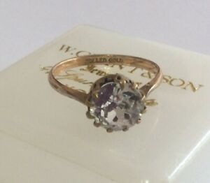 Vintage Antique Jewellery Signed Rolled Gold Diamond Paste Solitaire Ring UK O