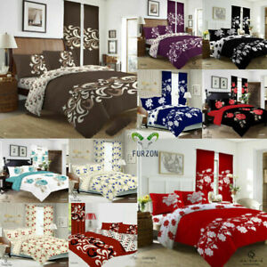 Duvet Cover Bedding Set With Fitted Sheet & Pillow Case Single Double King S/K
