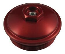 6.0L Powerstroke Billet RED Aluminum Fuel Filter Cap w/ Pressure Test Port