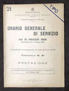 Ferrovie Orario Generale Servizio Prefazione - Istruzioni Indicazioni Linee 1926