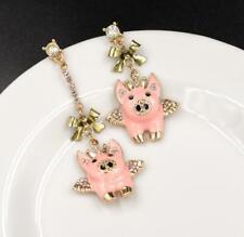 Betsey Johnson Fashion Rare Alloy Rhinestone Pink Angel Piggy dangle Earrings