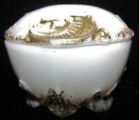 Antique Milk Glass Gold Painted Art Nouveau Paisley Feather Dresser Trinket Box