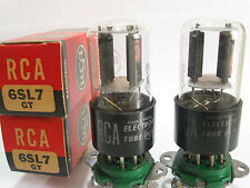2 matched 1951 RCA 6SL7GT tubes - Black Round Plates, Bottom D Getter