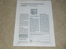 AR LST Acoustic Research Ad, 1 pg, 1972, Article, Info, Rare Ad!