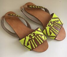 Asos Slingback Woven Sandals Brown Neon Green Ladies US 6 Leather