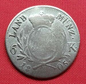German States Bavaria Silver Coin , 6 Kreuzer 1805 (.333) Maximilian IV (69), F