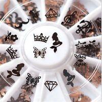 240pcs 3D Metal Nail Art Decoration Slice Black Stickers Decal Foil Wheel DIY
