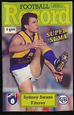 1992 AFL Football Record Sydney Swans vs Fitzroy Lions July 3 4 5