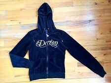 Dereon Black Hoodie Zip Sweatshirt Velvet Cotton Blend Sz M