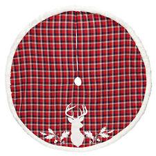 "Holiday Living 56"" CHRISTMAS TREE SKIRT Red Plaid Reindeer W/WHITE FAUX FUR TRIM"