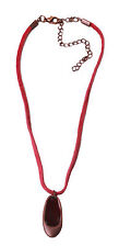 damen halskette rot wildleder string braun anhänger uk verkäufer (zx18)