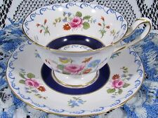 SHELLEY COBALT BLUE BAND ROSE FLORAL SPRAY TEA CUP AND SAUCER TEACUP