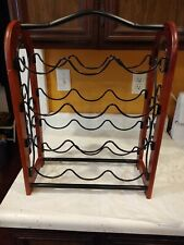 Wine Rack Wood Black Metal 12 Bottles Stackable Thailand