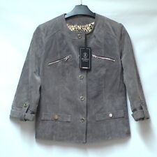 BNWT RINO & PELLE Taupe Leather Suede Jacket Blazer Quirky Sleeve UK 10 RRP £160