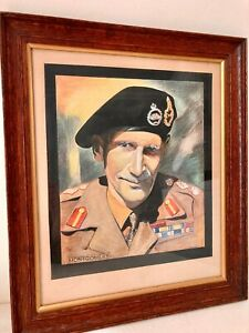 Vintage Watercolour Painting Field Marshal Montgomery Framed / Signed