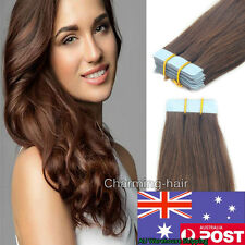 Seamless Tape in Skin Weft Remy Human Hair Extensions Medium Brown 20Pcs16Inch