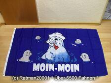 Fahnen Flagge Moin Moin Seehund Pfeife Sonderposten - 90 x 150 cm