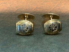 Vintage, 14k Gold, White Gold Front Cufflinks, Rectangle Shape, Engraved.