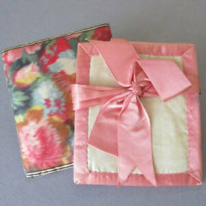 """Antique Handmade 4"""" NEEDLE CASE French Watered SILK w PINK Satin Ribbon + BOW"""