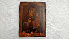 Antique 19c Russian Religious Icon Holy Mother Tychwinskaja Wood Icon 11""