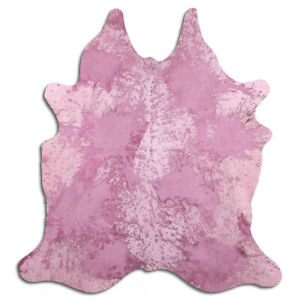 Real Cowhide Rug Distressed Fuchsia and White Size 6 by 7 ft, Top Quality
