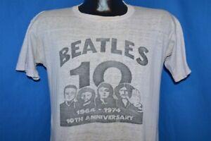 vintage 70s THE BEATLES 10 YEAR ANNIVERSARY 1974 ORIGINAL ROCK t-shirt MEDIUM M