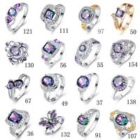 Fashion Jewelry Cocktail Rainbow & White Topaz & Amethyst Gemstone Silver Ring