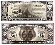 original Historic Route 66 Million Dollar Bill Fake Funny Money Novelty Note