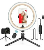 "10""LED Ring Light w/Tripod Stand&Phone Holder Dimmable Desk Ringlight Selfie Kit"
